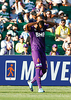 11th January 2020; HBF Park, Perth, Western Australia, Australia; A League Football, Perth Glory versus Adelaide United; Gregory Wuthrich of Perth Glory reacts to his missed header in the Adelaide box - Editorial Use