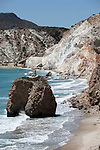 Fyriplaka Beach showing weathered volcanic formations, Milos Island, Greece