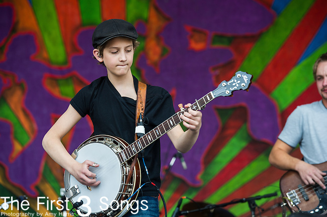 Jonny Mizzone of the Sleepy Man Banjo Boys performs during the New Orleans Jazz & Heritage Festival in New Orleans, LA.