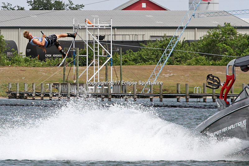 ORLANDO, FL - April 30:  Mike Dowdy USA takes 2nd place in the Men's Professional Division. Scenes from  WWA Nautique Wake Series Open 2017 at  the Orlando Watersports Complex on April 30, 2017 in Orlando, Florida. (Photo by Liz Lamont/Eclipse Sportswire/Getty Images)