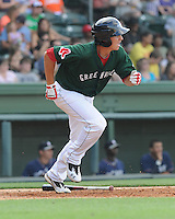 Infielder Nick Natoli (12) of the Greenville Drive in a game against the Rome Braves on May 6, 2012, at Fluor Field at the West End in Greenville, South Carolina. Greenville won, 11-3. (Tom Priddy/Four Seam Images)