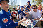 Kenta Maeda (Dodgers),<br /> FEBRUARY 21, 2016 - MLB :<br /> Kenta Maeda of the Los Angeles Dodgers signs autographs for fans during the Los Angeles Dodgers spring training baseball camp at Camelback Ranch in Glendale, Arizona, United States. (Photo by Thomas Anderson/AFLO) (JAPANESE NEWSPAPER OUT)
