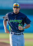 16 July 2017: Vermont Lake Monsters pitching coach Bryan Corey, trots back from the mound during a game against the Auburn Doubledays at Centennial Field in Burlington, Vermont. The Monsters defeated the Doubledays 6-3 in NY Penn League action. Mandatory Credit: Ed Wolfstein Photo *** RAW (NEF) Image File Available ***
