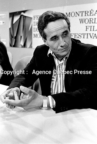Montreal, CANADA - File Photo -  Marco Bellochio  news conference at the World Film Festival, August 29, 1988.<br /> <br /> Photo : Agence Quebec Presse  - Pierre Roussel