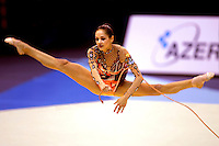 Irina Tchachina of Russia performs straddle jump with rope during All-Around competition at World Championships at Baku, Azerbaijan on October 8, 2005. (Photo by Tom Theobald)