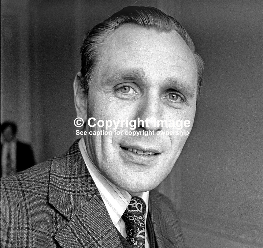 William Thompson, candidate, Mid-Ulster, Ulster Unionist, in 1975 N Ireland Convention Election. March 1975. 197503000223b<br /> <br /> Copyright Image from Victor Patterson, 54 Dorchester Park, Belfast, UK, BT9 6RJ<br /> <br /> t1: +44 28 9066 1296 (from Rep of Ireland 048 9066 1296)<br /> t2: +44 28 9002 2446 (from Rep of Ireland 048 9002 2446)<br /> m: +44 7802 353836<br /> <br /> e1: victorpatterson@me.com<br /> e2: victorpatterson@gmail.com<br /> <br /> The use of my copyright images is subject to my Terms &amp; Conditions.<br /> <br /> It is IMPORTANT that you familiarise yourself with them. They are available on my website at www.victorpatterson.com.<br /> <br /> None of my copyright images may be used on a website unless they are visibly watermarked, i.e. &copy; Victor Patterson within the body of the visible image. Metadata denoting my copyright must NOT be deleted. <br /> <br /> Web use (maximum size - 400 kb) is extra at currently recommended NUJ rates.