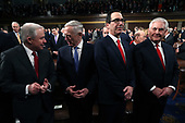 WASHINGTON, DC - JANUARY 30: (L-R) U.S. Attorney General Jeff Sessions, U.S. Secretary of Defense Gen. Jim Mattis, Secretary of the Treasury Steven Mnuchin, and U.S. Secretary of State Rex Tillerson during the State of the Union address in the chamber of the U.S. House of Representatives January 30, 2018 in Washington, DC. This is the first State of the Union address given by U.S. President Donald Trump and his second joint-session address to Congress.  <br /> Credit: Win McNamee / Pool via CNP