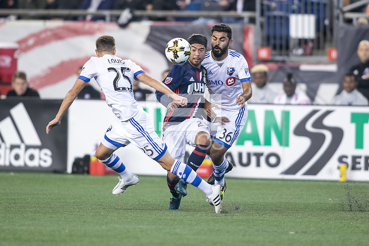 Foxborough, Massachusetts - September 9, 2017:  The New England Revolution (blue/white) and the Montreal Impact (white/blue) in a Major League Soccer (MLS) match at Gillette Stadium.