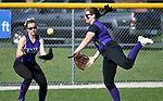 Breese Central outfielders Alex Sherman (left) and Kaitlyn Wuebbles try to grab a pop fly hit by Freeburg batter Elly Fischer in the third inning. The double by Fischer allowed two Freeburg runs to score. Breese Central High School played at Freeburg High School on Tuesday May 1, 2018. Tim Vizer | Special to STLhighschoolsports.com