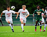 12 September 2010: Cornell University Big Red midfielder Benjamin Williams (32), a Freshman from Noblesville, IN, in action against the University of Vermont Catamounts at Centennial Field in Burlington, Vermont. The Catamounts edged out the Big Red 2-1. Mandatory Credit: Ed Wolfstein Photo