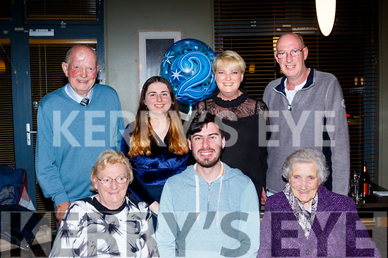 Joe Crosby from Tralee celebrated his 21st birthday with family in the Ballyroe Hts hotel, Tralee last Saturday evening, pictured are front, L-R Angela&Joe Crosby with maureen Power, back L-R Terry Crosby, Lorraine Keane with Joy&Tony Crosby.