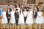 COMMUNION: Glin National School pupils who received their First Holy Communion at the Church Of The Immaculate Conception Glin on Saturday were front l-r: Maura, Conor and Anna Shine (triplets), Padraic O'Connor, Danielle McKenna, Jakub Nizinski, Eva Ryan, Oisi?n O'Sullivan and Bri?d Dillane. Back l-r: Caleb Sweeney, Garo?id Woulfe, Mai Fitzgerald, Darragh Leahy, Dillon O'Shea, Nathan Wright, Ciara?n McNamara and Nathan Regan. ..