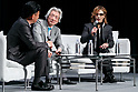 (L to R) Hiroshi Mikitani Chairman and CEO of Rakuten Inc., Japan's former Prime Minister Junichiro Koizumi and rock star Yoshiki of X JAPAN, speak during the second day of the New Economy Summit (NEST 2017) on April 7, 2017, Tokyo, Japan. The annual summit brings together global entrepreneurs and innovators for a two-day event in Tokyo. (Photo by Rodrigo Reyes Marin/AFLO)