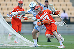 29 April 2016: Syracuse's Dylan Donahue (17) and North Carolina's Evan Connell (behind). The University of North Carolina Tar Heels played the Syracuse University Orange at Fifth Third Bank Stadium in Kennesaw, Georgia in a 2016 Atlantic Coast Conference Men's Lacrosse Tournament semifinal match.