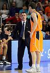 Baloncesto Fuelabrada's coach Porfi Fisac (l) and Kirk Penney during Liga Endesa ACB match.October 30,2011. (ALTERPHOTOS/Acero)