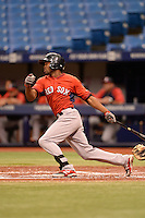 Boston Red Sox outfielder Manuel Margot (48) during an Instructional League game against the Tampa Bay Rays on September 25, 2014 at Tropicana Field in St. Petersburg, Florida.  (Mike Janes/Four Seam Images)