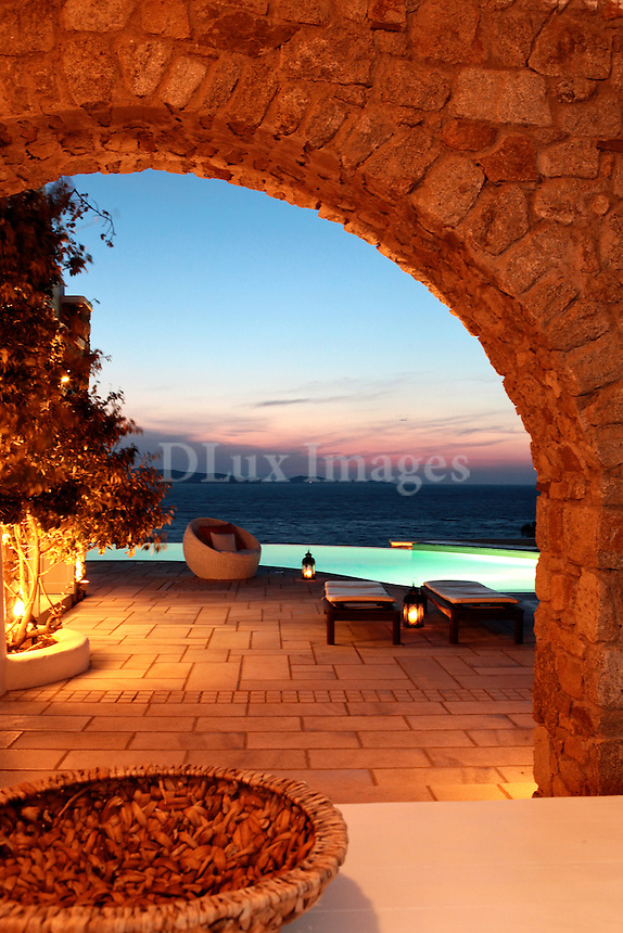 traditional arched patio