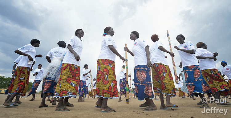 Women dance during a conference on peacebuilding in Abyei, a contested region along the border between Sudan and South Sudan. Under a 2005 peace agreement, the region was supposed to have a referendum to decide which country it would join, but the two countries have yet to agree on who can vote. In 2011, militias aligned with Khartoum drove out most of the Dinka Ngok residents, pushing them across a river into the town of Agok. Yet more than 40,000 Dinka Ngok have since returned with support from Caritas South Sudan, which has drilled wells, built houses, opened clinics and provided seeds and tools for the returnees. Peace remains elusive, however, and Caritas is supporting a series of conferences between all the stakeholders in the area.