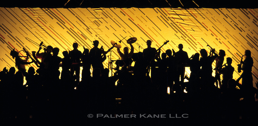 Big band backlit on stage. Silhouette.