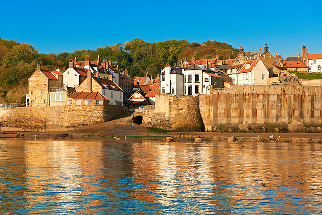 Fishermans houses of the historic fishing village of Robin Hood's Bay, Near Whitby, North Yorkshire, England.