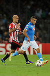 Mikel Rico of Athletic and Walter Gargano during the match between SSC Napoli and Athletic Club Bilbao, play-offs First leg Champions League at the San Paolo Stadium onTuesday August 19, 2014 in Napoli, Italy. (Photo by Marco Iorio)<br />