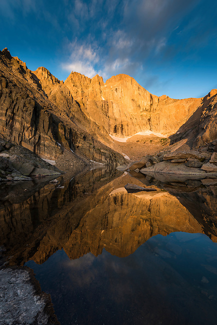 early morning reflection at Chasm Lake in Rocky Mountain National Park, Colorado, USA