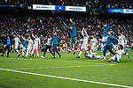 Players of Real Madrid celebrate after the UEFA Champions League Semi-final 2nd leg match between Real Madrid and Bayern Munich at the Estadio Santiago Bernabeu on May 01 2018 in Madrid, Spain. Photo by Diego Souto / Power Sport Images