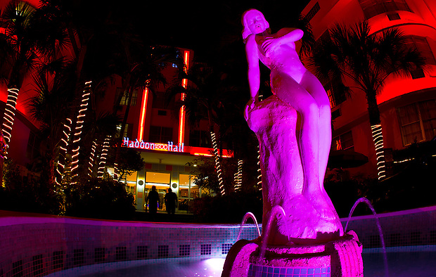 An illuminated statue in a fountain outside Haddon Hall, a Miami South Beach hotel.