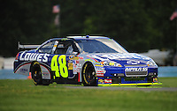 Aug. 7, 2009; Watkins Glen, NY, USA; NASCAR Sprint Cup Series driver Jimmie Johnson during practice for the Heluva Good at the Glen. Mandatory Credit: Mark J. Rebilas-