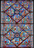 Medieval Windows of the Gothic Cathedral of Chartres, France- dedicated to Joseph the Patriach .  Bottom central panel - bottom Joseph dreams the sun, moon and stars make obeisance to him (Gen.37:9)?left - Jacob sends Joseph to Shechem to take supplies to his brothers, right - Joseph's brothers tending their flocks in Dothan (Gen.37:18) , top - Joseph's brothers lower him into an old well (Gen.37:24) . Top central panel - bottom Angry that Joseph spurned her, Potiphar's wife accuses him of attempted rape , left - Convinced by his wife's calumny, Potiphar has Joseph arrested , right - Joseph is thrown into prison , top - Pharaoh asleep in his palace, dreaming . A UNESCO World Heritage Site..