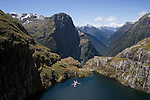 Helicopter above Lake Quill. Fiordland National Park. New Zealand.
