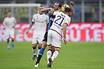 Artur Ionita of Cagliari gets to grips with Diego Godin of Inter during the Coppa Italia match at Giuseppe Meazza, Milan. Picture date: 14th January 2020. Picture credit should read: Jonathan Moscrop/Sportimage