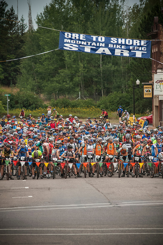 Scenes from the start of the Ore to Shore Mountain Bike Epic in Negaunee, Ishpeming and Marquette, Michigan.