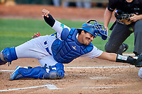Ramon Rodriguez (7) of the Ogden Raptors on defense against the Grand Junction Rockies at Lindquist Field on September 9, 2019 in Ogden, Utah. The Raptors defeated the Rockies 6-5. (Stephen Smith/Four Seam Images)