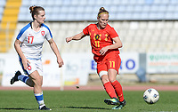 20180228 - LARNACA , CYPRUS :  Belgian Janice Cayman (r) pictured in action with Czech Tereza Szewieczkova (left) during a women's soccer game between The Belgian Red Flames and the Czech Republic , on wednesday 28 February 2018 at GSZ Stadium in Larnaca , Cyprus . This is the first game in group B for Belgium during the Cyprus Womens Cup , a prestigious women soccer tournament as a preparation on the World Cup 2019 qualification duels. PHOTO SPORTPIX.BE | DAVID CATRY