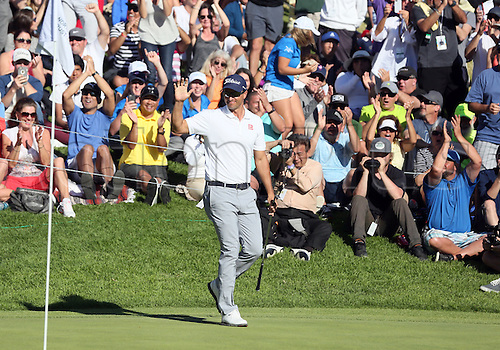 21.02.2016. Pacific Palisades, California, USA.  Adam Scott celebrates after chipping in for birdie on the 18th hole  during the fourth round of the Northern Trust Open at Riviera Country Club in Pacific Palisades, CA.