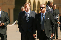 9 August 2007: NFL Commissioner Roger Goodell addresses the media after the Bill Walsh memorial at Memorial Church on the campus of Stanford University in Stanford, CA.