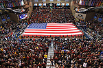 SIOUX FALLS, SD: MARCH 24:  A large American flag was unfurled by the Air Force National Guard and friends prior to the National Anthem before the championship game between Ferris State and Northern State at the 2018 Division II Men's Basketball Championship at the Sanford Pentagon in Sioux Falls, S.D. A crowd of 3,538 attended the championship game. (Photo by Dick Carlson/Inertia)