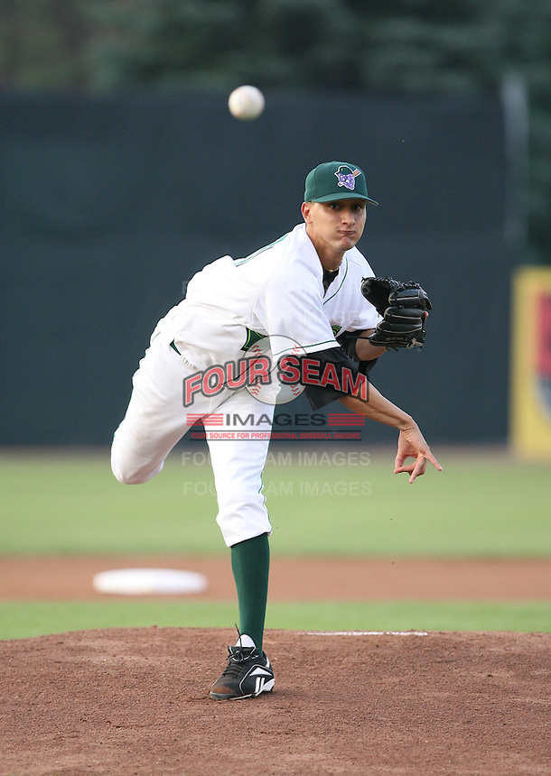 Hector Correa of the Jamestown Jammers, Class-A affiliate of the Florida Marlins, during New York-Penn League baseball action.  Photo by Mike Janes/Four Seam Images