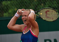 Paris, France, 28 June, 2016, Tennis, Roland Garros, Kiki Bertens (NED) defeated Daria Kasatkina (RUS) and celebrates<br /> Photo: Henk Koster/tennisimages.com