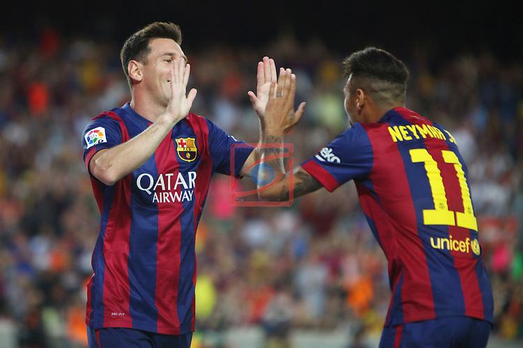 49e Trofeu Joan Gamper.<br /> FC Barcelona vs Club Leon FC: 6-0.<br /> Lionel Messi &amp; Neymar Jr.