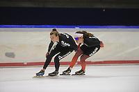 SCHAATSEN: HEERENVEEN: 22-09-2014, IJsstadion Thialf, Team Clafis, Heather Richardson (USA), Antoinette de Jong, ©foto Martin de Jong