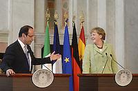Roma, 22 Giugno 2012.Villa Madama.Vertice quadrilaterale su Eurozona con i leader di Italia, Francia, Germania e Spagna.Nella foto,  Angela Merkel e Francois Hollande