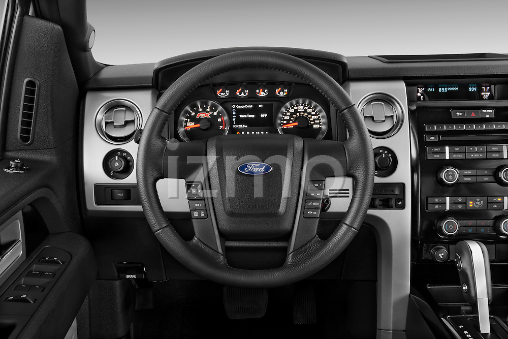 Steering wheel view of a   2013 Ford F150 FX4 crew cab
