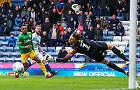 Blackburn Rovers' Adam Armstrong shoots wide under pressure from Preston North End's Darnell Fisher<br /> <br /> Photographer Alex Dodd/CameraSport<br /> <br /> The EFL Sky Bet Championship - Blackburn Rovers v Preston North End - Saturday 9th March 2019 - Ewood Park - Blackburn<br /> <br /> World Copyright © 2019 CameraSport. All rights reserved. 43 Linden Ave. Countesthorpe. Leicester. England. LE8 5PG - Tel: +44 (0) 116 277 4147 - admin@camerasport.com - www.camerasport.com