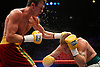 Andy Lee (red shorts) fights Ciaran Healy (white shorts) in a 8 round middleweight contest at the Point, Dublin. Ireland