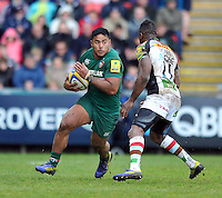 Manu Tuilagi in possession. Aviva Premiership semi final, between Leicester Tigers and Harlequins on May 11, 2013 at Welford Road in Leicester, England. Photo by: Patrick Khachfe / Onside Images