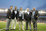 09 June 2011: Kansas City's owners pose before the game. From left: Greg Maday, Robb Heineman, Neal Patterson, Cliff Illig, and Pat Curran. Sporting Kansas City played the Chicago Fire to a 0-0 tie in the inaugural game at LIVESTRONG Sporting Park in Kansas City, Kansas in a 2011 regular season Major League Soccer game.