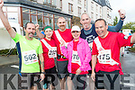 Terence O'Connor (Ballyseedy, Tralee) Aisling Muldowney (Tralee) John O'Sullivan (Leith, Tralee) with Anne Sicat, Tony Casey and Philip Sicat (Ballymac), who took part in the Rose of Tralee 10k on Sunday morning at Tralee Bay Wetlands .