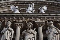 Detail of the Kings' Gallery and the Virgin Mary sculpture, Notre Dame de Paris, 1163 ? 1345, initiated by the bishop Maurice de Sully, Ile de la Cité, Paris, France. Picture by Manuel Cohen